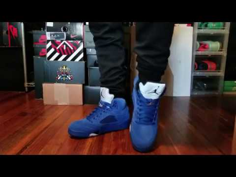 3a4766361ce794 AIR JORDAN 5 BLUE SUEDE REVIEW + ON FEET - YouTube