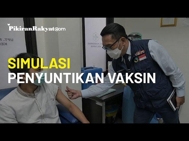 Ridwan Kamil Memantau Simulasi Penyuntikan Vaksin Covid-19 kepada Masyarakat di Depok
