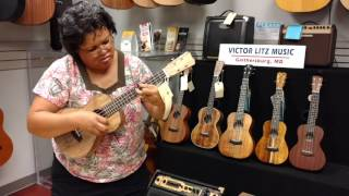 Kanile'a and Islander ukulele demonstrations at Victor litz music by Nani Lowery