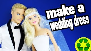 How to make an easy Barbie Wedding Dress - Easy Doll Crafts
