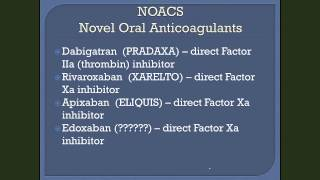 Dr. William W. Wilson Talk 1 on Novel Oral Anticoagulants