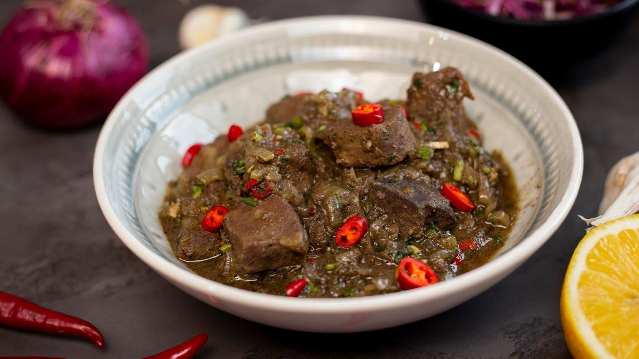 Каурма (ყაურმა) - вкусное деревенское блюдо. Говяжья печень и сердце по-грузински.