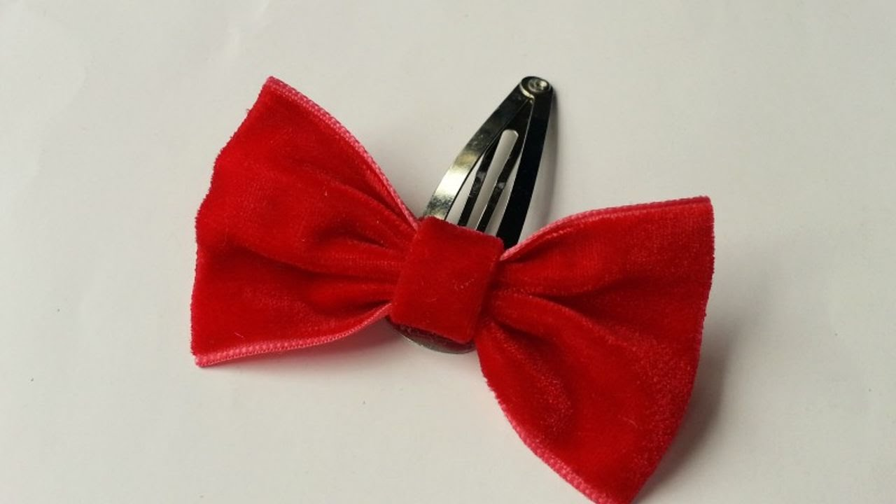 51cc19292972 How To Make A Cute Velvet Bow Hair Clip - DIY Tutorial - Guidecentral -  YouTube