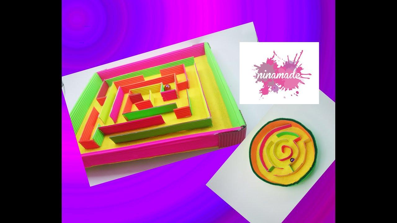 Diy des jeux labyrinthe en carton ondul activit pour - Activite manuelle recyclage ...