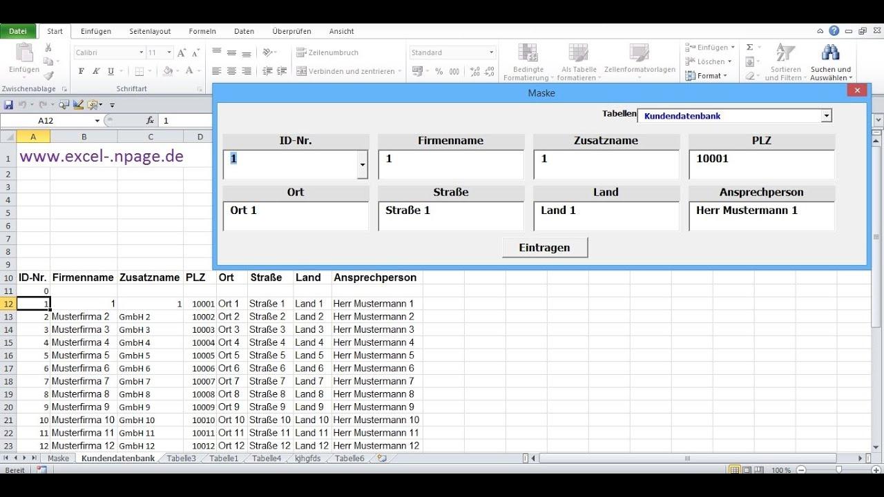 Excel Vba Userform Tabellenblatt Aktivieren : Datenbankprogramm in excel vba selber erstellen daten