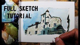Urban sketch Loose style,La maison du Pâtissier,easy to follow.Nil Rocha crooked lines