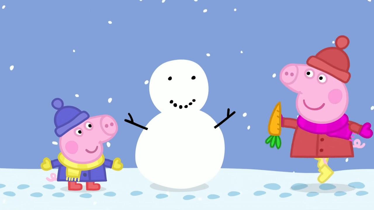 Свинка Пеппа и Джордж лепят снеговика. - YouTube