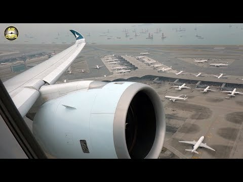 Cathay A350 Takeoff, STUNNING Hongkong airport views, wing and engine condensation!!! [AirClips]