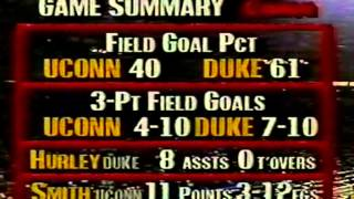03/22/1991 NCAA Midwest Regional Semifinals:  #11 Connecticut Huskies vs.  #2 Duke Blue Devils