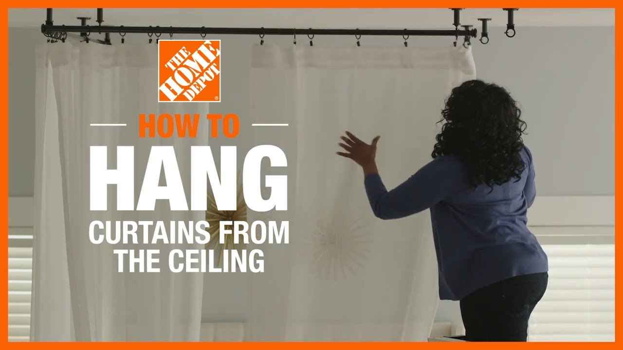 how to hang curtains from the ceiling the home depot