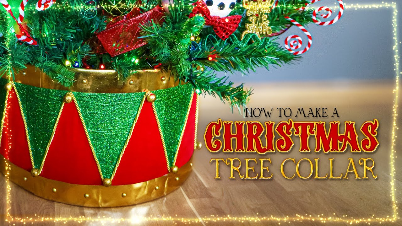 DIY Christmas Drum Tree Collar | How to make a Tree Collar from Cardboard Christmas 2021