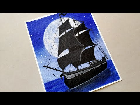 Acrylic Painting for beginners/ Moonlight night sky Sailboat Painting/ 3 colors acrylic painting