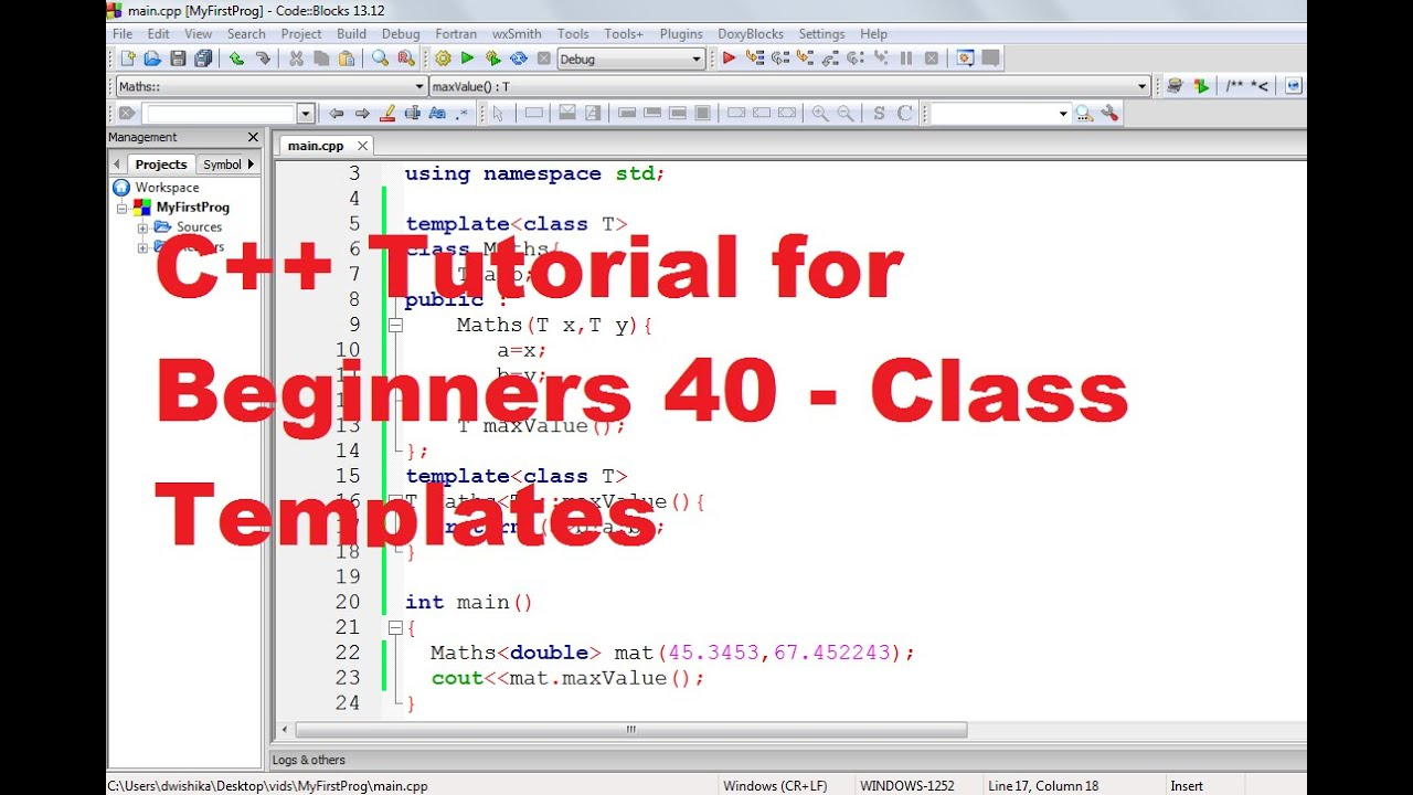 c tutorial for beginners 40 class templates youtube