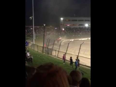 Bryan Tyler's 2016 Eldora Speedway 4 Crown Nationals USAC Silver Crown Dirt Champ Car Big Crash