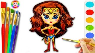 How To Draw Wonder Woman DC Super Hero Coloring Page for Girls