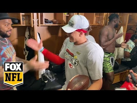 Patrick Mahomes walks into Chiefs locker room for first time as a Super Bowl champion | FOX NFL