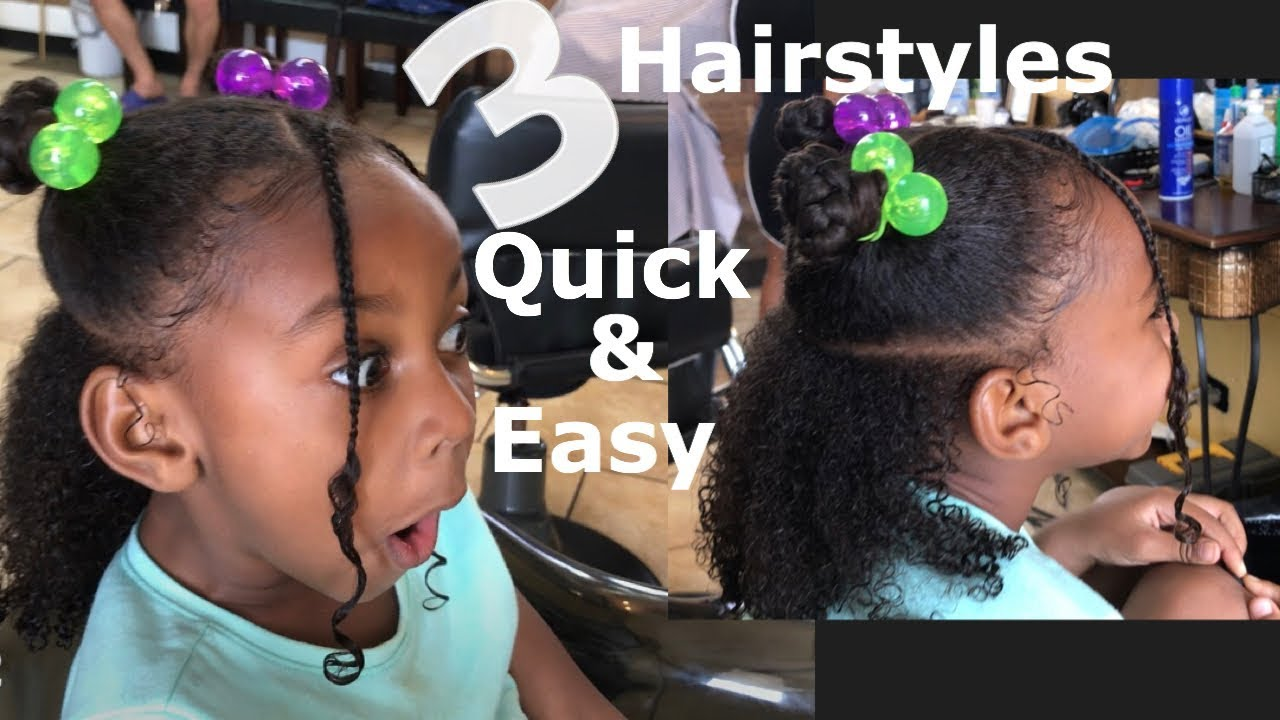 3 Quick Easy Hairstyles Little Black Girls Curly Hair Youtube