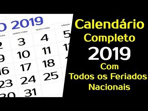 CALEND�RIO 2019 BRASIL COM FERIADOS NACIONAIS