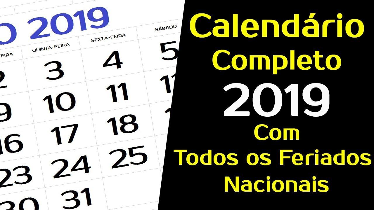 Calendario Mostre Foi 2019.Calendario 2019 Brasil Com Feriados Nacionais