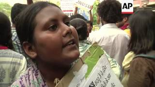 Student protest against gang rape and hanging of two teenage girls in Uttar Pradesh