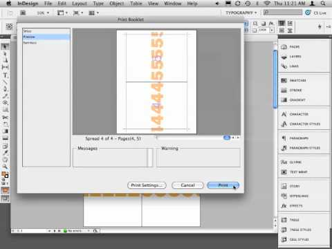indesign print booklet to  -