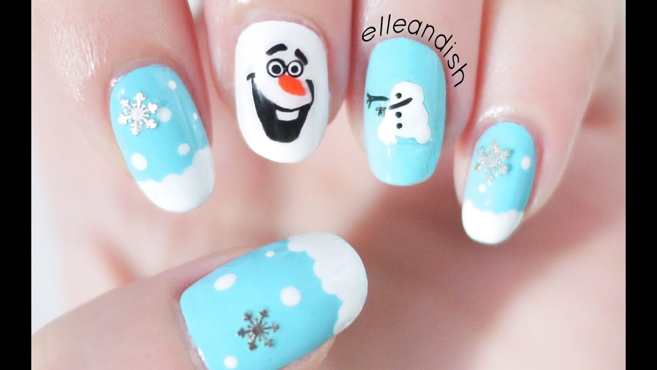 ❄ DIY Olaf Nail Stickers with a SANDWICH BAG! - YouTube