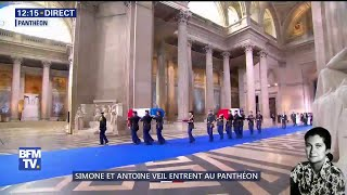 Simone et Antoine Veil entrent au Panthéon entourés de leur famille et d'Emmanuel Macron