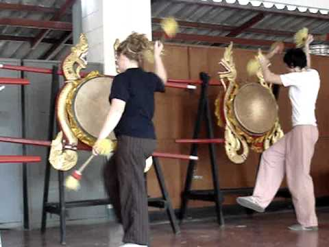 Slovenian Students from University of Ljubljana learning the folk drum of Northern Thailand