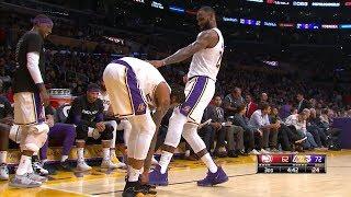 LeBron James Not Letting Brandon Ingram Tie His Shoes