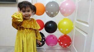 Ebrar balonları iğne ile patlatarak hapis kaldığı odadan kurtuldu. #balon #eğlencelicocukvideosu