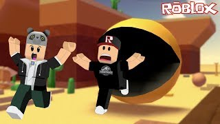 We're Playing Survival! Pac Man Chases Us - Roblox Survive The Disasters 2 with Panda