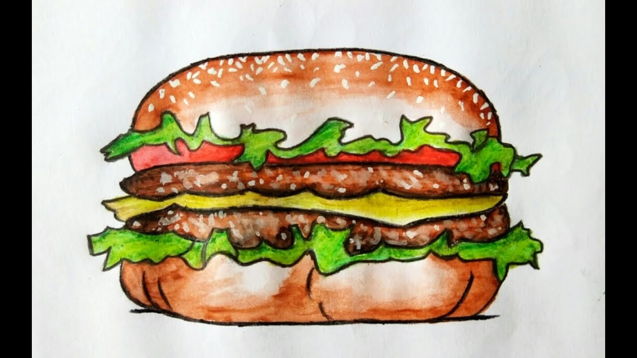 Realistic painting of burger with watercolour pencil