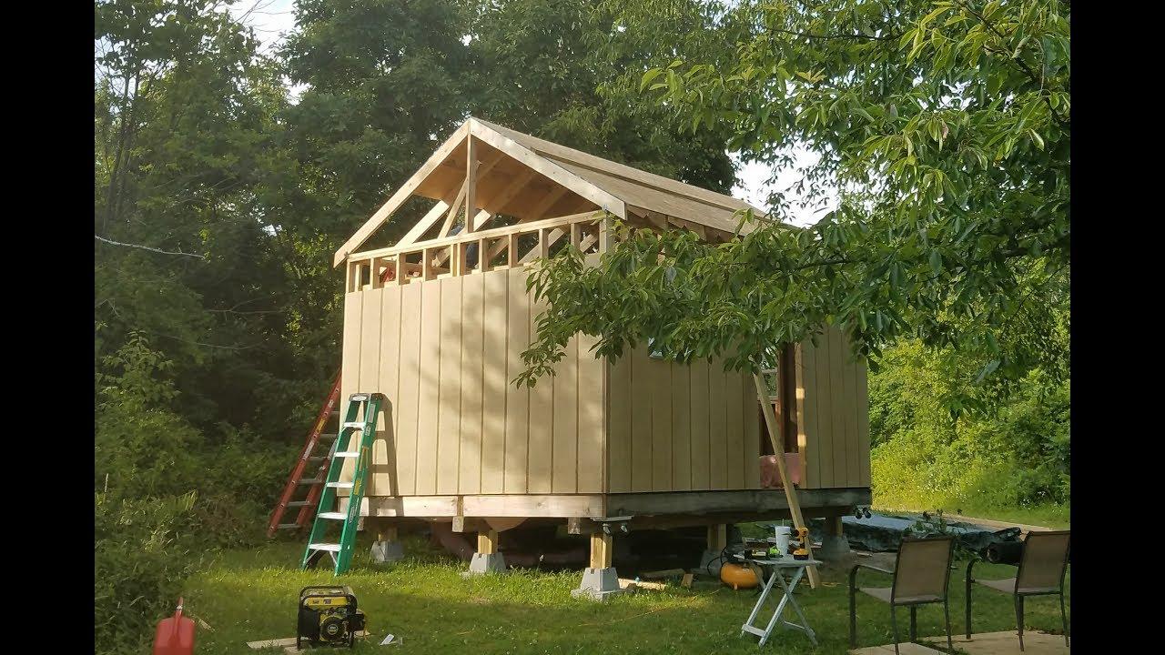 12x16 Off Grid Cabin Pt 8   Rafters U0026 Sheathing