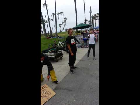 Guy kicked in the balls for $10 . Venice Beach CA