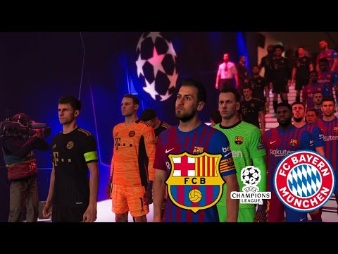 PES 2021 PATCH 2022 | BARCELONA VS BAYERN MUNCHEN - CHAMPIONS LEAGUE 2022 | PES PC GAME |