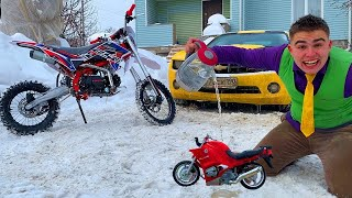 Motorcyclist Mr. Joe on Camaro with Small Motorcycle Conjured Bike 13+