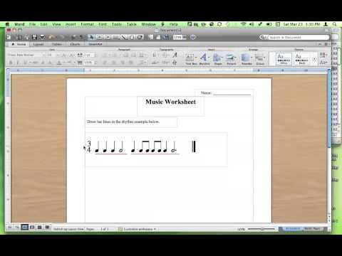 Making Rhythm Worksheets using Music Fonts
