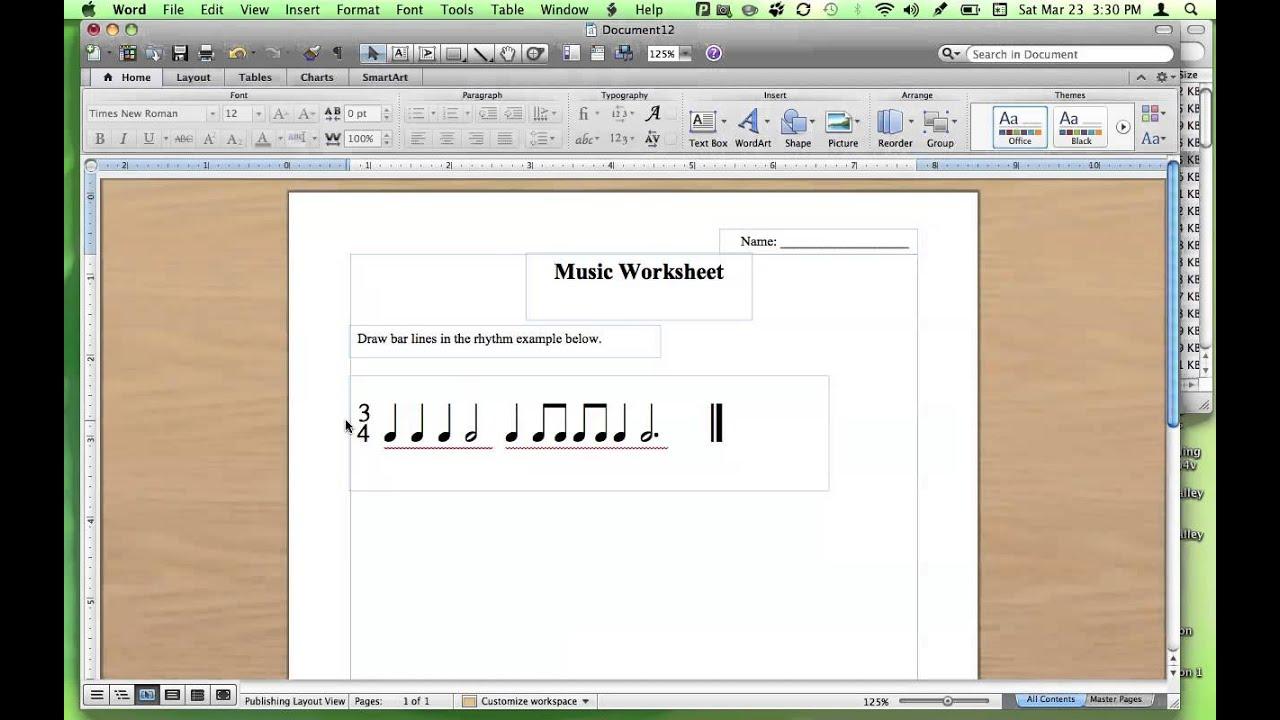Making Rhythm Worksheets Using Music Fonts