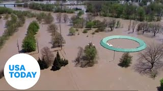 Aerial drone shows massive flooding in Michigan | USA TODAY