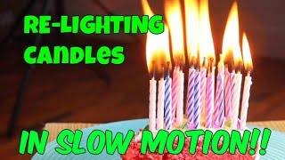 Magic Relighting Candles in Slow Mo HD   Slow Mo Lab