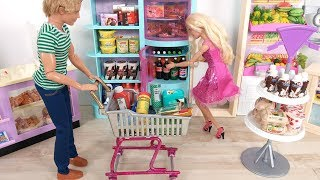 Barbie Grocery Shopping with Ken! Barbie Supermarket Grocery Store باربي مارت Barbie Supermercado
