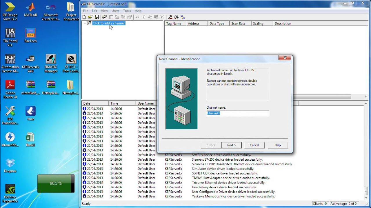 OPC kepware + Excel