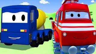 troy the train and the concrete truck in car city   cars trucks cartoon for children