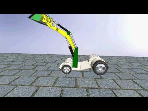 event based motion study and animation of tractor front loader attachment