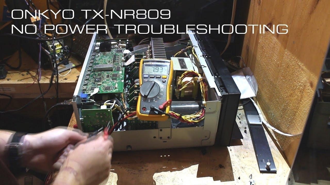 onkyo tx nr809 no power troubleshooting youtube rh youtube com