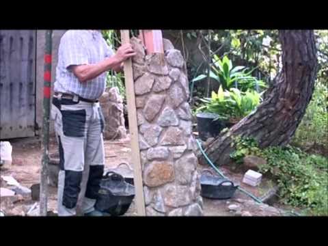 C mo construir una columna con piedra aut ctona 2 parte - Como hacer una pared de piedra y cemento ...
