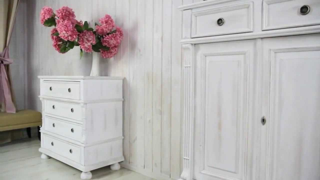 Shabby Chic Landhauskommode Massiv-aus-Holz.de - YouTube