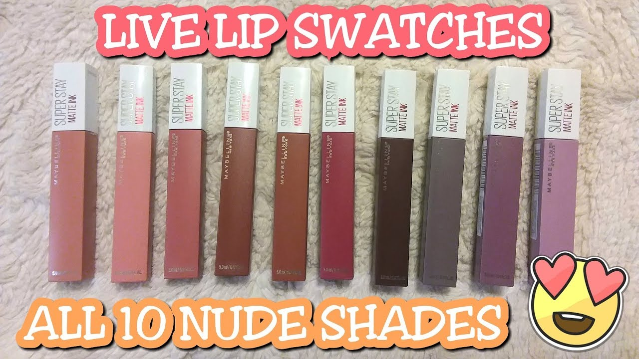 The Nudes Maybelline Superstay Matte Ink Live Lip Swatches Youtube