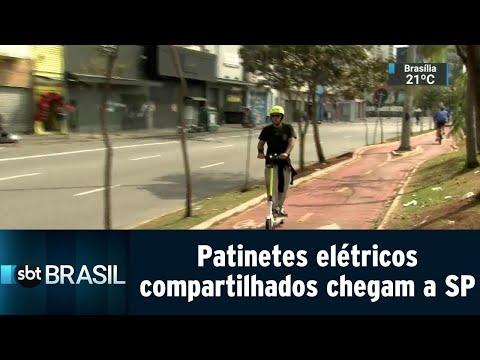 Febre na Califórnia, patinetes elétricos compartilhados chegam a SP | SBT Brasil (18/08/18)