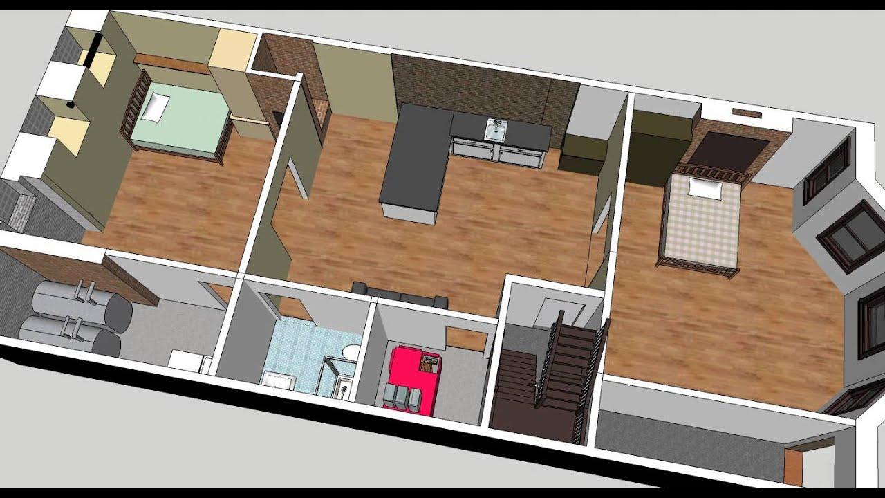 Good Brownstone Basement Part - 5: Boston Brownstone Basement Renovation Animation Using Sketchup